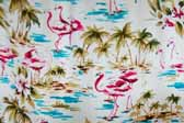 This photo shows a swatch of retro fabric with a palm trees and pink flamingos pattern, for your vintage trailer