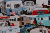 This image is a sample of a great looking retro fabric pattern with vintage trailers and pickup trucks, for your vintage trailer