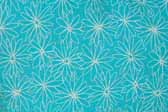 This image is a sample of a great looking retro fabric pattern with 1960's flowers on a turquoise background, for your vintage trailer