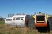 Old trailers stored in a vintage trailer junk yard