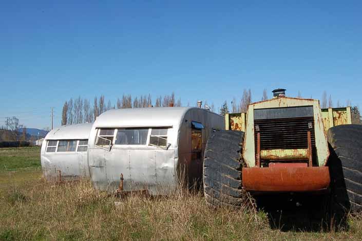 A couple of vintage Spartan trailers in a Vintage Trailer Junk Yard