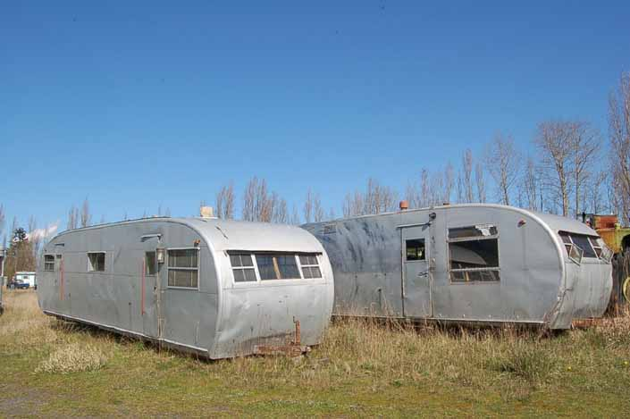 Vintage trailer junkyard has several old Spartanette trailers avaliable for restoration