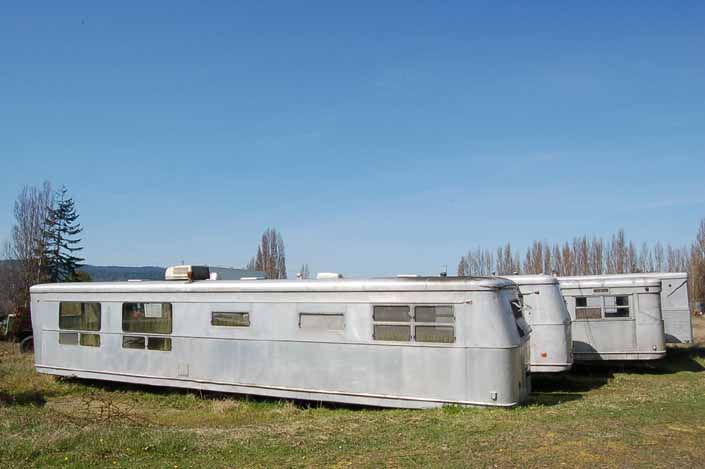 Vintage trailer junkyard has a collection of large Spartan Manor trailers avaliable for restoration