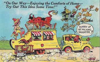 Collectable vintage trailer humor postcard