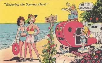 Vintage Travel Trailer bawdy humor post card