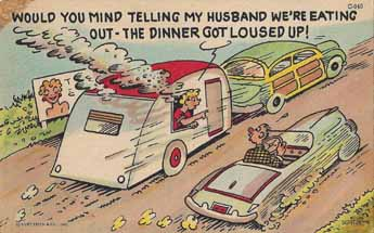 Colorful Vintage Trailer humor postcard