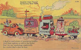 Vintage travel trailer comic linen post card