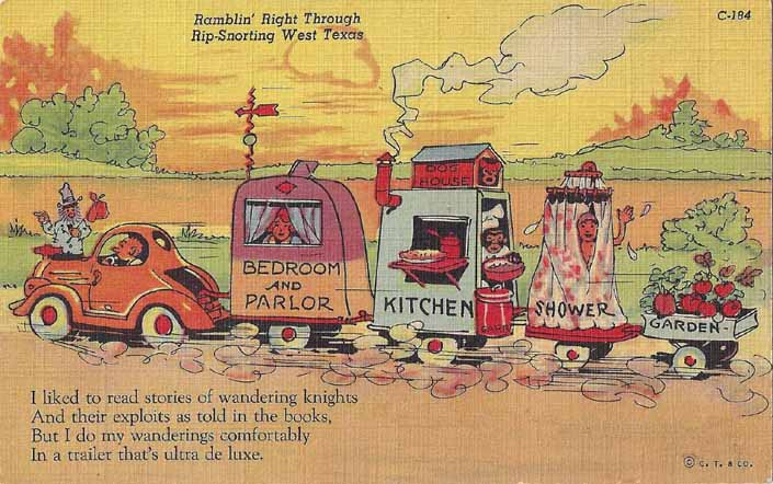 Vintage Travel Trailer humor linen postcard