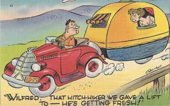 Vintage Travel Trailer comic post card