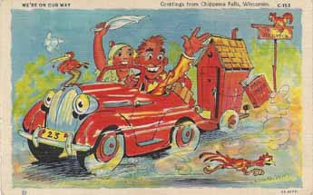 Vintage Travel Trailer comics post card