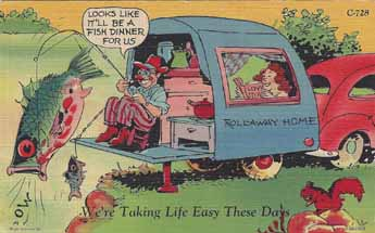 Vintage Travel Trailer camping humor post card