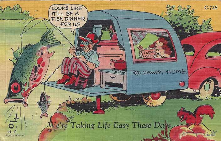 Silly Vintage Trailer Comic Postcard