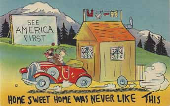 Collectable linen vintage trailer humor postcard