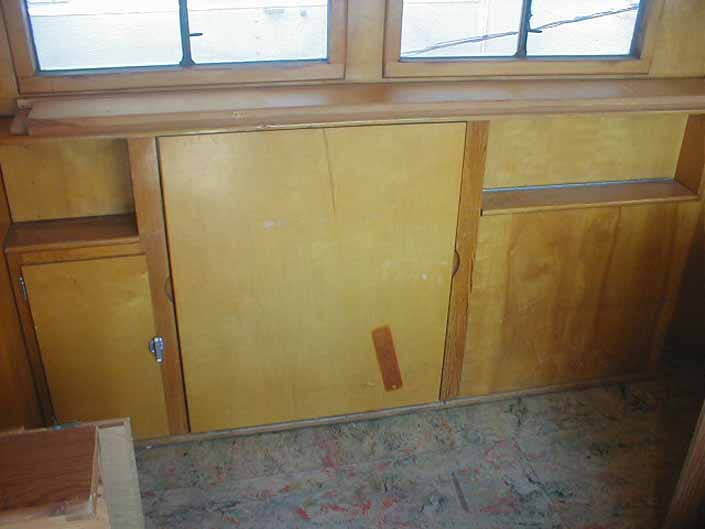 Vintage trailer salvage yard has a 1948 Westcraft Westwood trailer with wood work and flooring in good condition