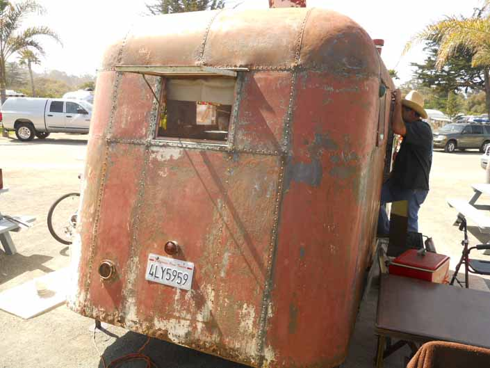 Salvaged 1936 Covered Wagon vintage trailer is rough but restorable
