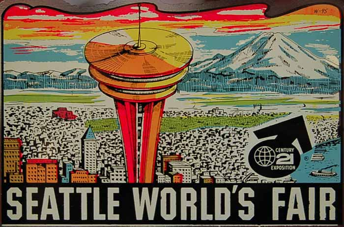 Cool Vintage Travel Decal from the 1962 Seattle World's Fair features the iconic Space Needle