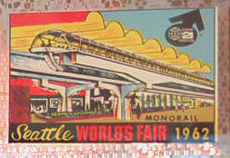 Rare Vintage Travel Decal from the 1962 Seattle World's Fair, depicts the famous monorail build for the fair