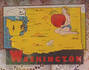 Early Vintage Travel Decal features map of Washington State with a comely miss holding a Washington apple