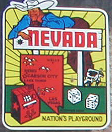 Vintage Travel Decal from Nevada features gambling theme and slogan: Nation's Playground