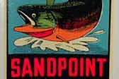 Sandpoint Idaho Vintage Travel Decal celebrates fishing for the great Kamloops fishing in the area