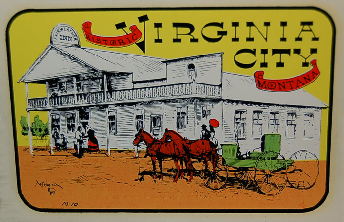 Unique Old West Style Vintage Travel Decal from Virginia City in Nevada