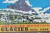 Rare Vintage Travel Decal from Glacier National Park in Montana features Reynolds Mountain