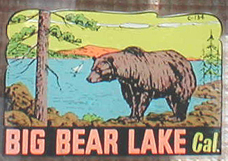 Old Vintage Travel Decal from Big Bear Lake Recreational Area in California