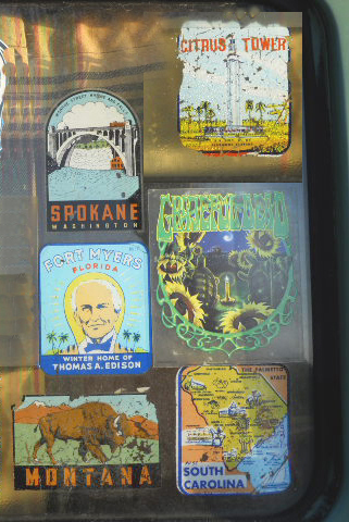 Several Vintage Travel Decals from Montana, South Carolina and Fort Myers Florida