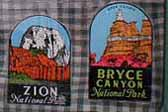 Set of Vintage Travel Decals from Bryce Canyon National Park and Zion National Park