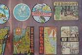 Group of faded Vintage Travel Decals from Boston, Cape Cod, Ocean City, New England and more