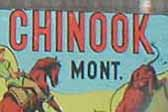 Rare Vintage Travel Decal from Chinook Montana showing cowgirl roping a steer