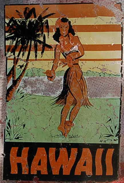 Vintage Travel Decal From Hawaii, With Hula Girl