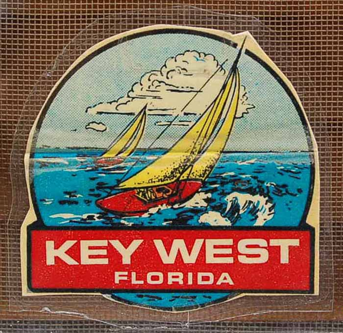 Vintage Travel Decal From Key West in Florida