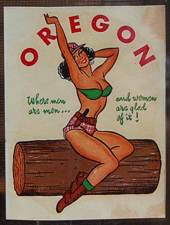 Vintage Travel Decal From Oregon Shows Pinup Girl Sitting on a Log