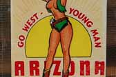 Vintage Travel Decal From Arizona Shows Sexy Pinup Cowgirl