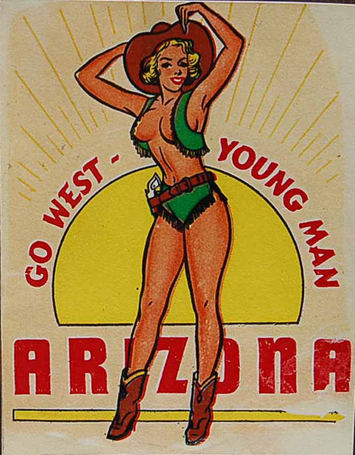 Vintage Travel Decal From Arizona Shows Pinup Cowgirl
