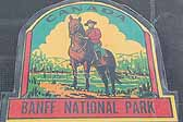 Rare Vintage Travel Decal From Banff National Park in Canada, Features a Mountie atop a Horse