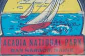 Colorful Vintage Travel Decal Shows Sailboats on the Bay in Acadia National Park in Bar Harbor, Maine