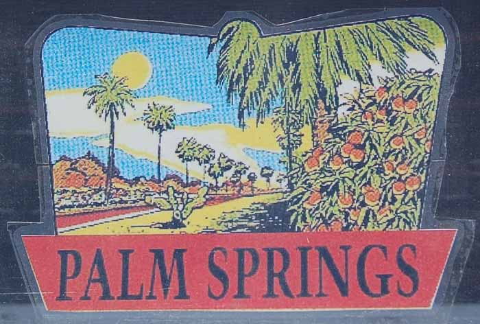 Vintage Travel Decal From Palm Springs, California