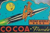 Rare Vintage Travel Decal From Cocoa in Florida, Honors Soldiers Stationed at Flying Missle Base