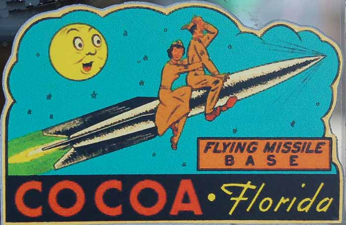 Flying Missle Base, Cocoa Florida Vintage Travel Decal Features Soldiers Straddling Rocket