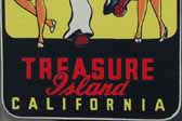 Fun Vintage Travel Decal Shows a Sailor on Shore Leave With a Girl on Each Arm, at Treasure Island in California