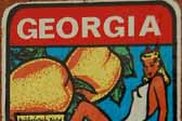 Vintage Travel Decal From the State of Georgia Features Their Famous Peaches and a Cute Georgia Peach Pinup Girl