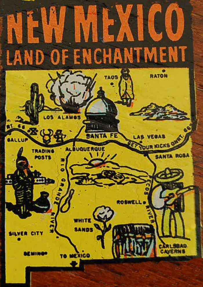 Vintage Travel Decal from New Mexico, The Land of Enchantment