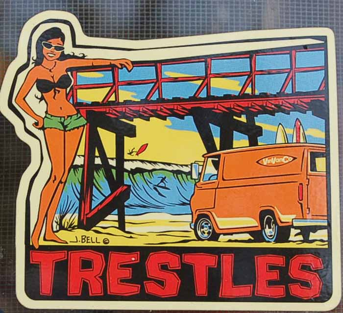 Vintage Travel Decal Honoring Famous Surfing Spot Trestles in California