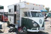 Large custom camper unit combined with a vintage split-window Volkswagen bus, is a roomy and classic truck based camper